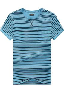 Camiseta Listrada Detail V - Azul Claro M