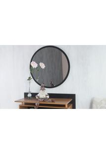 Espelho Redondo De Parede Preto Para Quarto Diâmetro 50Cm