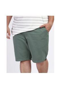 Bermuda De Sarja Masculina Plus Size Reta Chino Verde Escuro