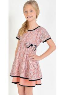 Vestido De Renda Com Laço Decorativo Rosa