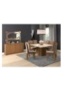 Conjunto De Mesa De Jantar Ana Com Vidro E 8 Cadeiras Taís Suede Off White E Savana