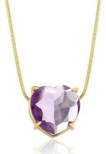 Colar Toque De Joia Coração Pedra Natural Ametista - Feminino-Dourado