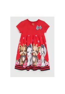 Vestido Kyly Infantil Full Print Vermelho/Azul-Marinho