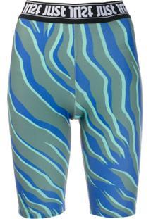 Just Cavalli Bermuda Ciclista Com Logo - Azul