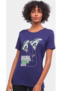 Camiseta Carmim Sneaker Manga Curta Feminina - Feminino-Marinho