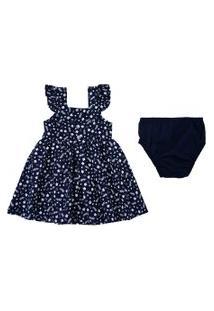 Vestido Baby Com Alças - Floral - Marinho - Algodão E Elastano - Minimi
