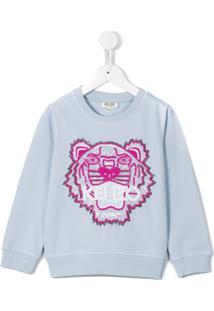Kenzo Kids Suéter Com Logo - Azul