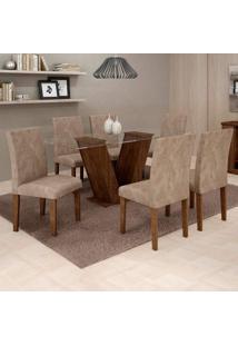 Conjunto De Mesa De Jantar Com 6 Cadeiras Classic Veludo Chocolate