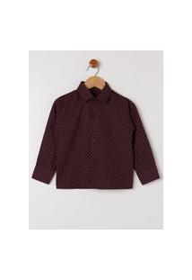 Camisa Manga Longa Infantil Para Menino - Bordô