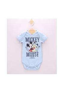 Body Infantil Mickey E Pluto Manga Curta Azul Claro