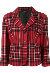 Ermanno Scervino Cropped Plaid Jacket - Vermelho