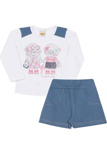 Conjunto Infantil Blusa Bear Em Cotton E Shorts Feminino - Feminino