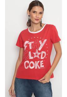 "Camiseta ""Stay Glad Cokeâ®""- Vermelha & Branca- Coca-Coca-Cola"