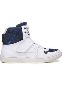 Tênis Branco Masculino Rockfit Queen Em Couro E Jeans