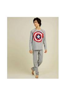Pijama Juvenil Manga Longa Capitão América Marvel Tam 12 A 16