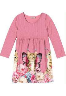Vestido Infantil Curto Rosa