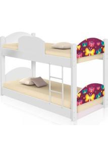 Beliche Infantil Borboletas Com 2 Colchãµes Casah - Branco/Multicolorido - Menina - Dafiti