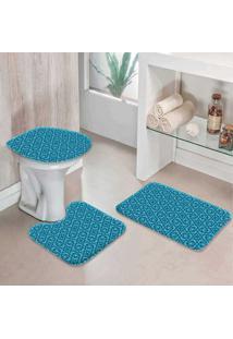 Jogo Tapetes Para Banheiro Geométrico Azul -
