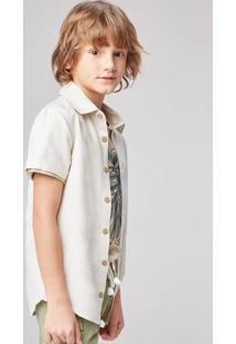 Camisa Infantil Menino Manga Curta Com Botões De Madeira Hering Kids