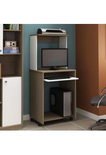 Mesa Para Computador Siena Móveis Avelã Tx/Branco Tx