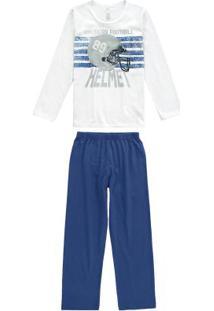 Pijama Branco Longo Estampado