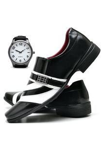 Sapato Social Masculino Com Verniz Asgard Com Relógio New Db 632Lbm Preto