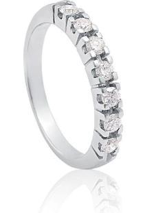 Meia Aliança De Ouro Branco Com Diamantes