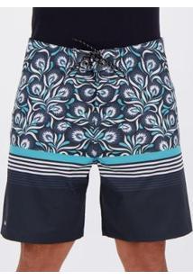 Bermuda Mash Paisley Estampada Masculina - Masculino-Azul