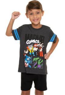 Pijama Curto Infantil Menino Avengers Marvel Com Algodão