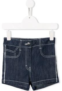 Karl Lagerfeld Kids Short Jeans Cintura Alta - Azul