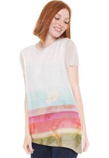 Camiseta Desigual Bordada Tule Off-White