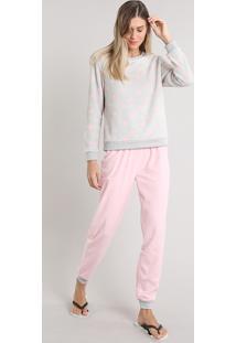 2c8a74c6a3d573 Pijama De Inverno Feminino Estampado De Coração Em Fleece Manga Longa Cinza