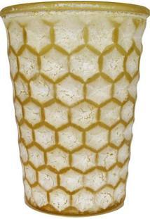 Vaso Decorativo Abacaxi- Branco & Amarelo- 13Xø13Cm