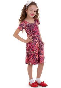 Vestido Manola Semi Rodado Pink Infantil Multicolorido
