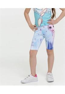 Bermuda Infantil Ciclista Estampa Elsa Frozen Feminina - Feminino-Azul