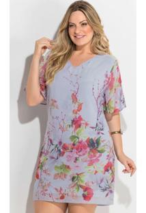 e2e55877c Vestido Chiffon (Floral) Forro Plus Size Quintess