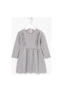 Vestido Infantil Com Babados E Estampa Poá - Tam 1 A 5 Anos | Póim (1 A 5 Anos) | Cinza | 01