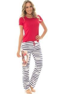 Pijama Recco Manga Curta De Viscose Cm Calça Recco Microfibra Amni - Feminino