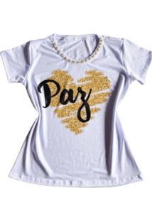 Camiseta Pérola Paz Feminina - Feminino-Branco