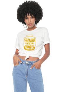 Camiseta Farinha Pouca Meu Pirão Primeiro Baita Peita Off White