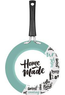 """Frigideira """"Home Made""""- Branca & Verde Água- 9,6X43,Tramontina"""