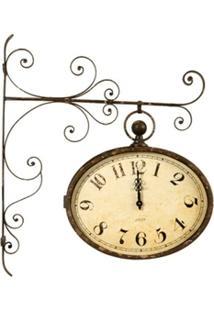 Relógio De Parede Decorativo Estação De Metal Envelhecido - Unissex