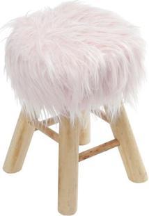 Puff Glamour- Rosa & Bege- 40Xø28Cm- Or Designor Design