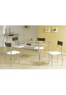 Conjunto De Mesa Com 4 Cadeiras Lua Prata E Branco E Marrom