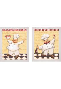 Conjunto Com 2 Quadros Decorativos Cozinheiros Branco
