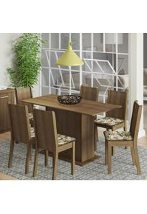 Conjunto De Mesa Com 6 Cadeiras Celeny Rustic E Lirio Bege