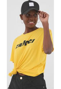 Camiseta Colcci Logo Amarela - Amarelo - Feminino - Viscose - Dafiti