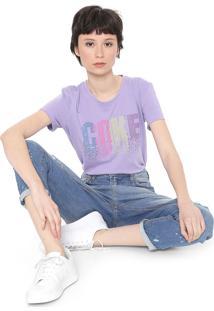 Camiseta Coca-Cola Jeans Aplicações Lilás