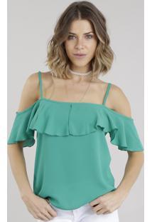 Blusa Open Shoulder Verde
