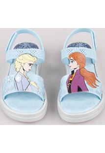 Sandália Infantil Grendene Frozen Anna E Elsa Flatform Azul Claro